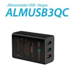 ALIMENTADOR 3GO HOGAR USB 1QC+2USB